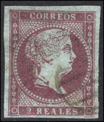 Spain 1855 2r dull purple bluish paper fine used.