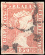 Spain 1850 5r dull red thick paper extremely fine used.