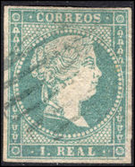 Spain 1856 1r blue-green watermark fine used.