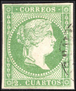 Spain 1856-59 2c yellow-green thick white paper no watermark fine used.