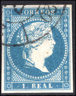 Spain 1856-59 1r greenish blue thick white paper fine used.