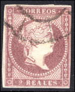 Spain 1856-59 2r dull purple thick white paper fine used.