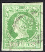 Spain 1860-61 2c yellowish-green on greenish fine used.