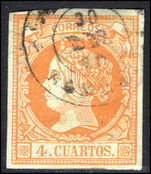 Spain 1860-61 4c pale orange on greenish fine used.