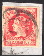 Spain 1860-61 12c carmine on buff fine used.