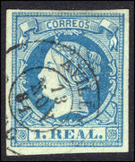 Spain 1860-61 1r deep blue on greenish fine used.