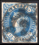 Spain 1862 12c deep blue on pale rose fine used.