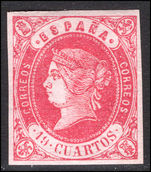 Spain 1862 19c carmine on lilac very fine mint with light hinge remainders and full gum.