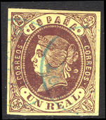 Spain 1862 1r brown on straw fine used.