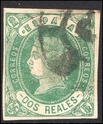 Spain 1862 2r pale-green on pale rose fine used.