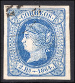 Spain 1864 2r blue on pale rose fine used.
