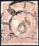 Spain 1865 2r pale mauve imperf fine used.