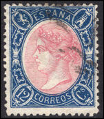 Spain 1865 12c rose and deep blue fine used.