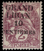 Lebanon 1924 (1st Jan-June) 10c on 2c claret mounted mint.