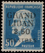 Lebanon 1924 (1st Jan-June) 2p50 on 50c blue Pasteur mounted mint.