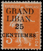 Lebanon 1924 (1st Jan-June) 25c on 5c orange mounted mint.