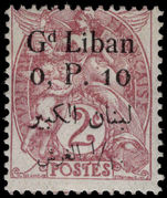 Lebanon 1924-25 0p.10 on 2c claret mounted mint.