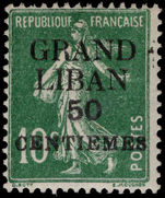 Lebanon 1924 (1st Jan-June) 50c on 10c green mounted mint.