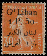Lebanon 1924-25 1p50 on 30c orange mounted mint.