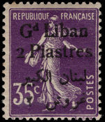 Lebanon 1924-25 2p on 35c violet mounted mint.