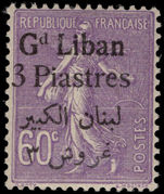 Lebanon 1924-25 3p on 60c violet mounted mint.