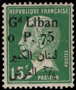 Lebanon 1924-25 0p75 on 15c green Pasteur mounted mint.