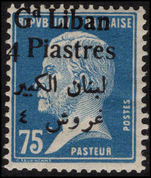 Lebanon 1924-25 4p on 75c blue Pasteur mounted mint.
