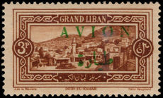 Lebanon 1925 (1st Mar) 3p Avion mounted mint.