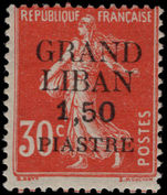 Lebanon 1924 (1st Jan-June) 1p50 on 30c red mounted mint.