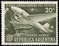Argentina 1951 State Airlines lightly mounted mint.