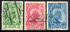 Liechtenstein 1915 thin unsurfaced paper set fine postally used! Some tone spots.