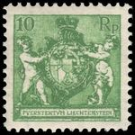 Liechtenstein 1924 10r yellow-green wmk mint lightly hinged