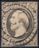 Luxembourg 1856 10c grey-black  fine used but with close margins