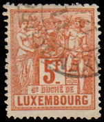 Luxembourg 1882 5fr perf 13½ fine used