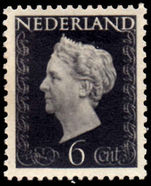 Netherlands 1947 6c Black lightly mounted mint.