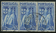 Portugal 1946 St Mary top value fine used strip of three