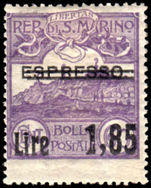 San Marino 1926 1l85 on 60c violet Lightly Hinged