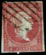 Spain 1855 4C Carmine Fine Used No Thins