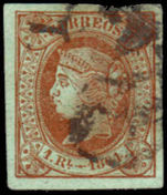 Spain 1864 1R Brown On Green Fine Used No Thins