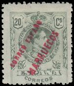 Spain Post Offices In Morocco 1909-10 20c Missing L fine mint lightly hinged.