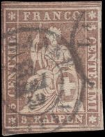 Switzerland 1856 5r fine used.