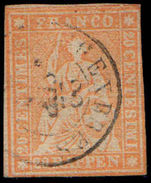 Switzerland 1857 20r orange Berne printing clean fresh example