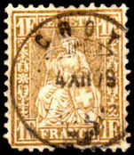Switzerland 1862 1fr Gold fine used pulled corner