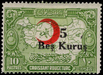 Turkey 1932-34 5k on 10k Red Cross provisional lightly mounted mint.