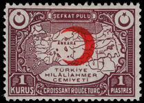 Turkey 1934-35 1k Red Cross lightly mounted mint.