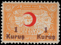 Turkey 1942 1k on 2½k Red Cross provisional lightly mounted mint.