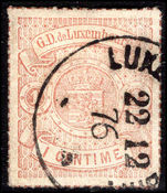 Luxembourg 1865-75 1c red-brown rouletted in colour fine used.