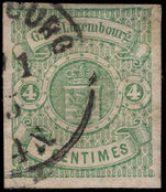 Luxembourg 1874 4c green imperf 4 margins fine used.