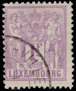 Luxembourg 1882-84 1f lilac perf 12½x12 fine used.