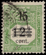 Luxembourg 1920 15c Postage due provisional fine used.